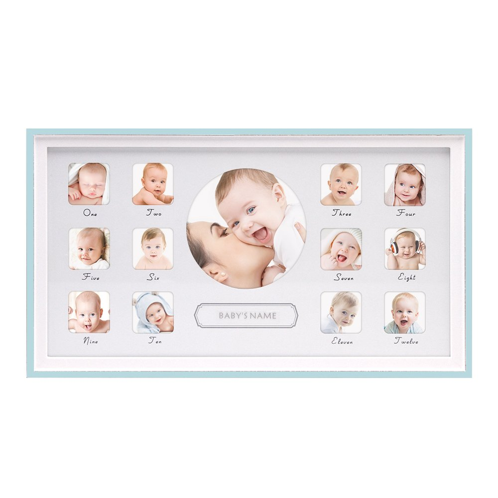 Amazoncom Afuly Babys First Year Picture Frame Wood 12 Month