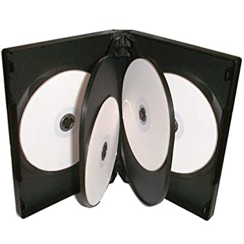 Lote de 10 carcasas para 6 discos Four Square Media, CD, DVD, Blu-ray, 22 mm, color negro