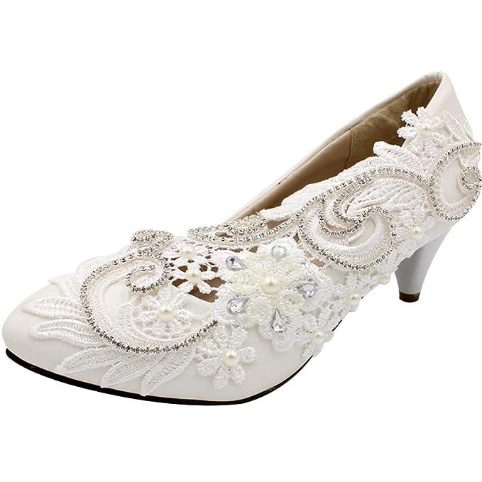 cfceccf5 SERAPH BH565 Bombas nupciales de encaje para mujer Flor de tacón alto media  Perla de cristal Zapatos de boda Blanco: Amazon.es: Ropa y accesorios