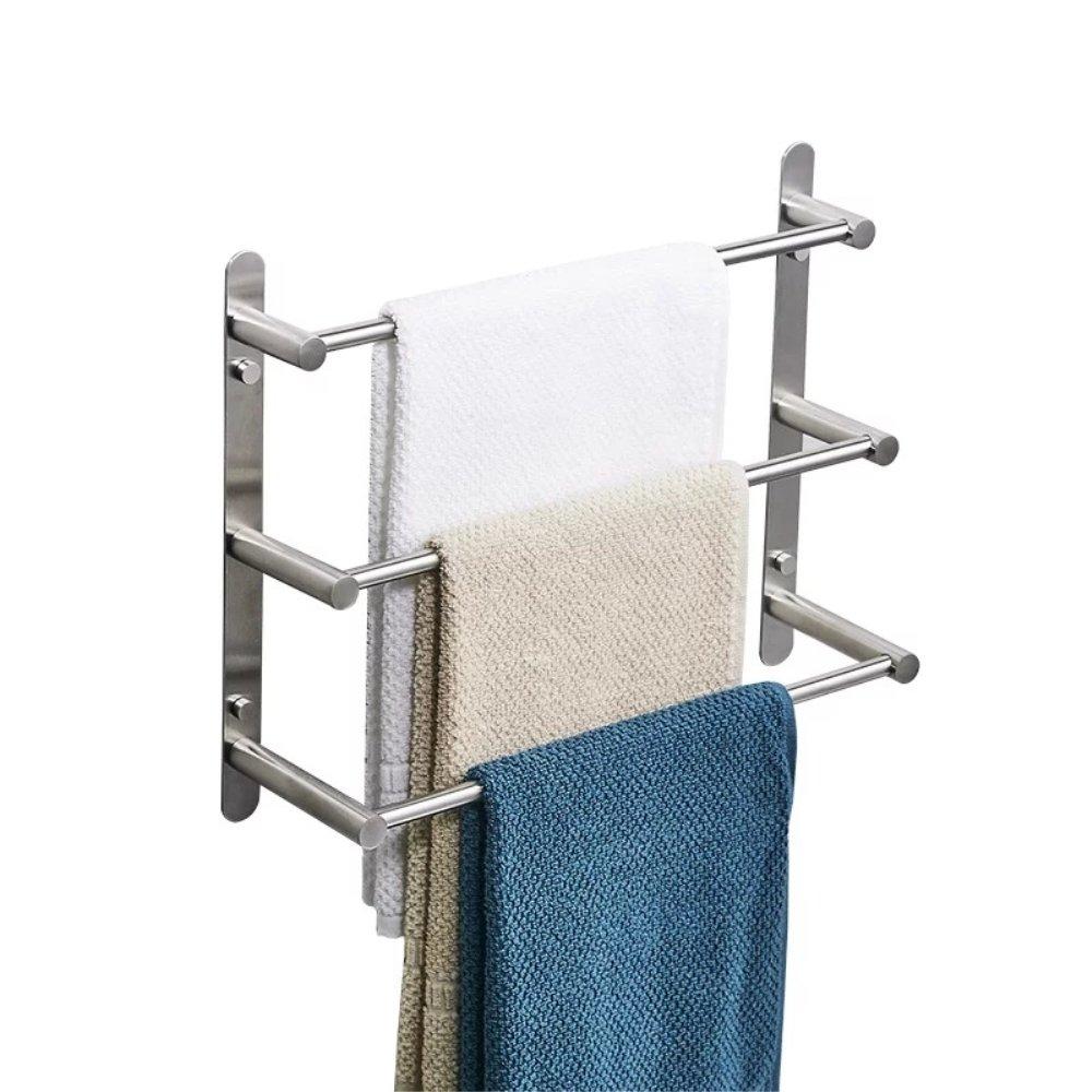 YUTU TY500 Stainless Steel Towel Rack 3 Tiers Square Towel Bars Wall Mounted Brushed Nickel Bathroom Shelf Holder 19.6'' L