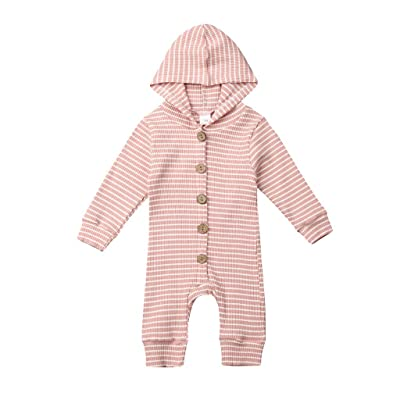 Fullyday Winter Infant Button Hooded Romper, Newborn Long Sleeve Striped Print Jumpsuit, Perfect Hoodie for Baby Boy&Girl: Clothing