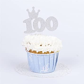 Silver Glitter Baby 100 Days Cake Topper YOFUNTLE 100th Happy Birthday Or Anniversary Party