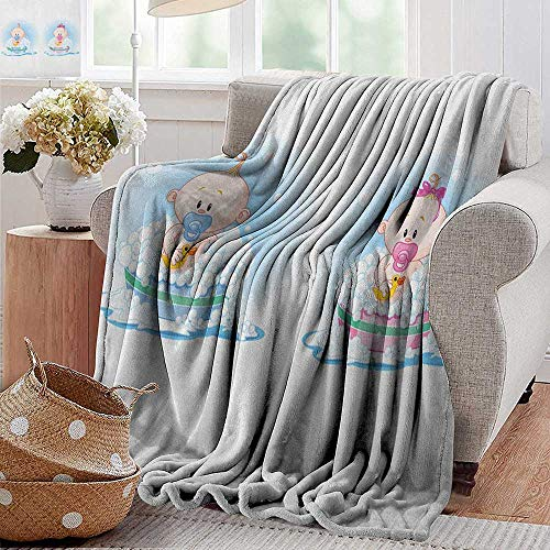 Travel Throw Blanket,Gender Reveal,Cute Girl and Boy Babies in Bath with Bubbles Duck Toddler Picture Print, Multicolor,Super Soft and Warm,Durable Throw Blanket 60