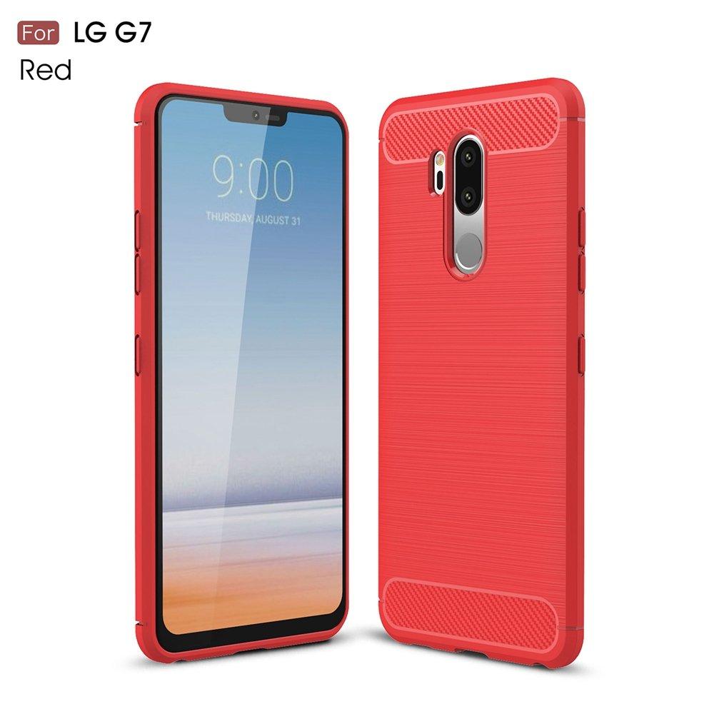 Zhusha Mobile phone case, LG G7 Case, Ultra Light Carbon Fiber Armor ShockProof Brushed Silicone Grip Case for LG G7 ( Color : Black )