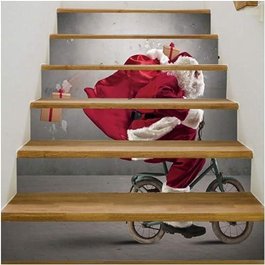 SERFGTFH Escaleras Pegatinas 3D Pegatinas De Navidad Árbol De Navidad Led Arte Adhesivo Decorativo Decoración De Pared Calcomanías Adhesivos Salón para La Decoración del Hogar: Amazon.es: Hogar