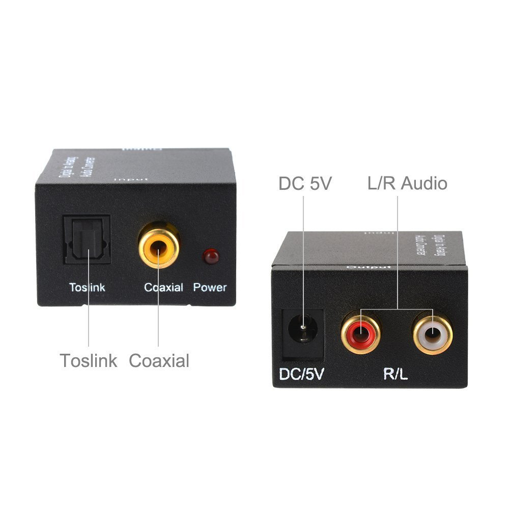 Convertidor Digital Analógico DAC Audio Óptico Coaxial(RCA) Toslink SPDIF de Audio Estéreo R/L Adaptador para PS3 XBox 360 HDTV Blu RAY DVD Sky HD TV (con ...