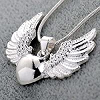 Ransopakul Women Fashion 925 Sterling Silver Heart Angel Wing Pendant Necklace Jewelry