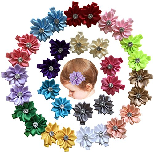 32 Pcs Baby Hair Clips Safety Clip Rhinestone Flower Barrettes for Toddler Girl Teens and Childrens