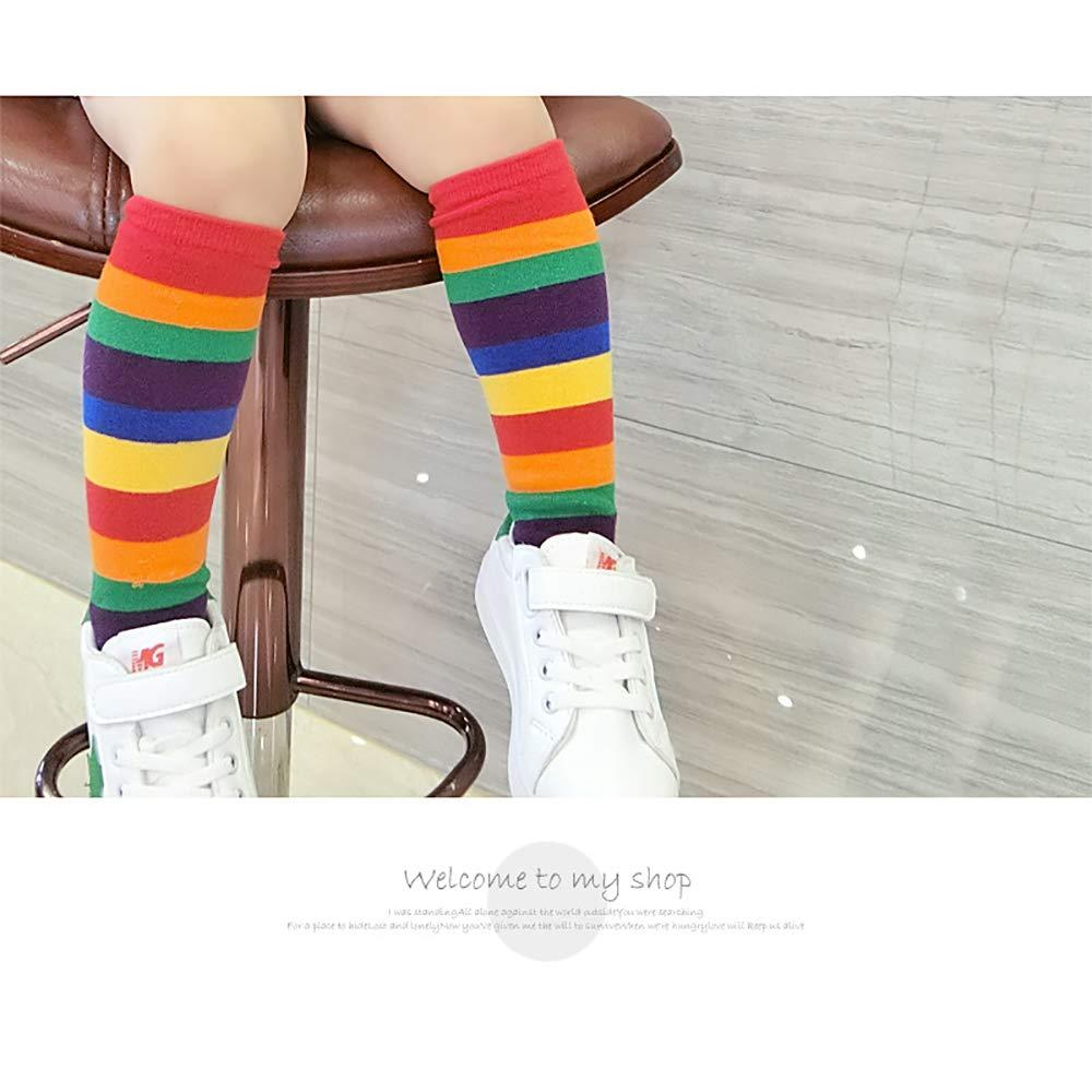 Funkeet 2 Pairs Rainbow Tube Socks Set High Knee Socks Stocking for Unisex Kids Toddlers