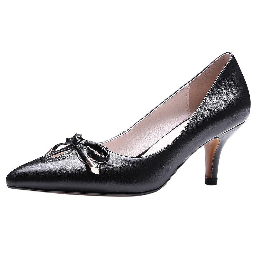 RizaBina Ladies Sweet Bowknot Kitten Heel Pumps Slip on Leather Shoes