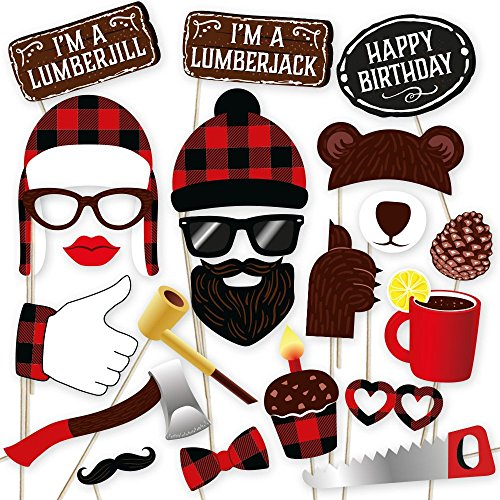 Lumberjack photo booth props by PartyGraphix. Perfect for Lumberjack Party Photo Booth. Plaid Party theme. 34 Quality -