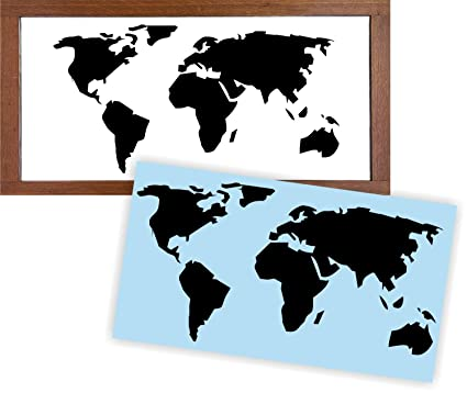 World Map Stencil For Painting Signs, Reusable U0026 Thick, By Barn Star