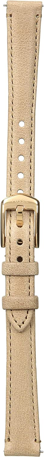 Fossil Leather and Stainless Steel Interchangeable Watch Band Strap Tan/Rose Gold