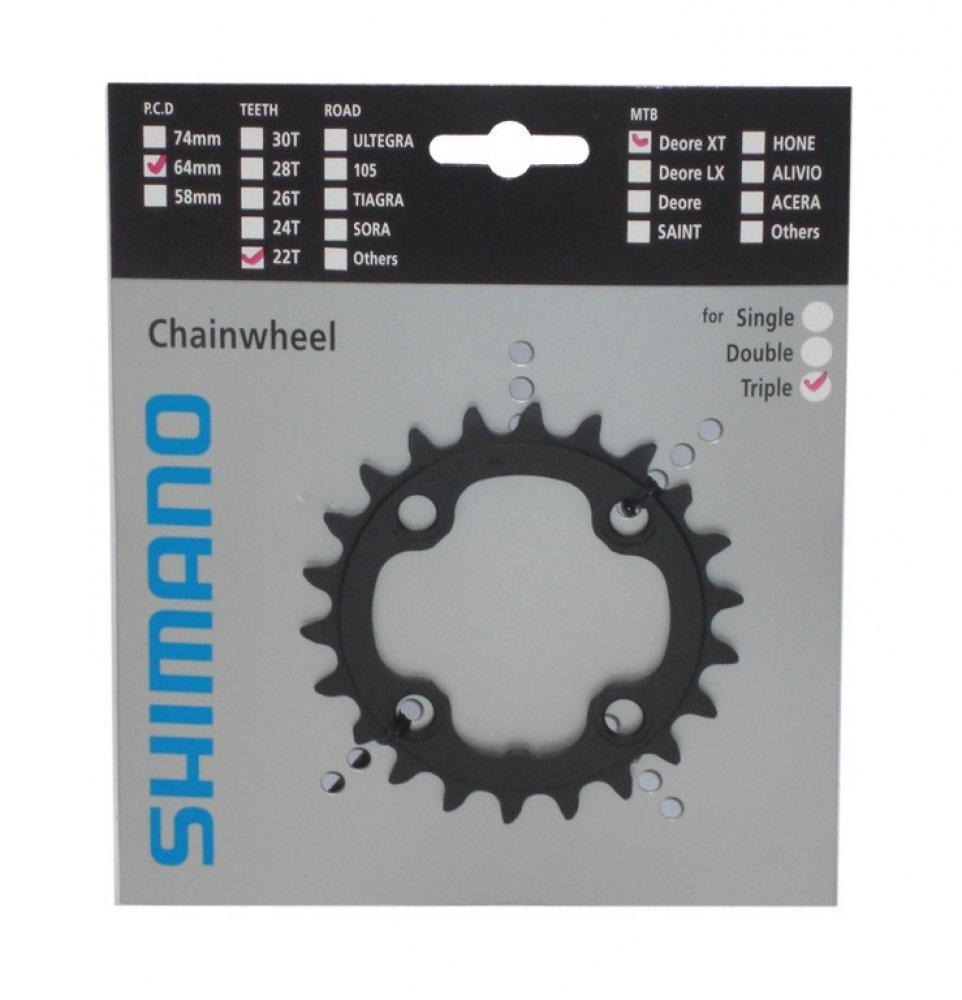 Plato de Bicicleta Interior SHIMANO Y1J122000/XT 22/Dientes