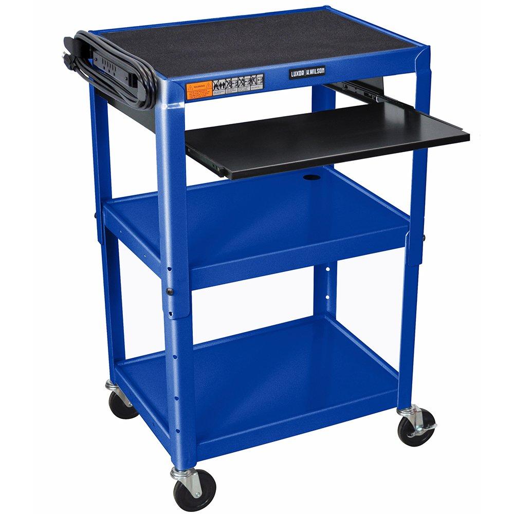 Luxor Rolling Multipurpose Height Adjustable Steel AV Utility Cart With Pullout Keyboard Tray Shelf Black: Industrial & Scientific