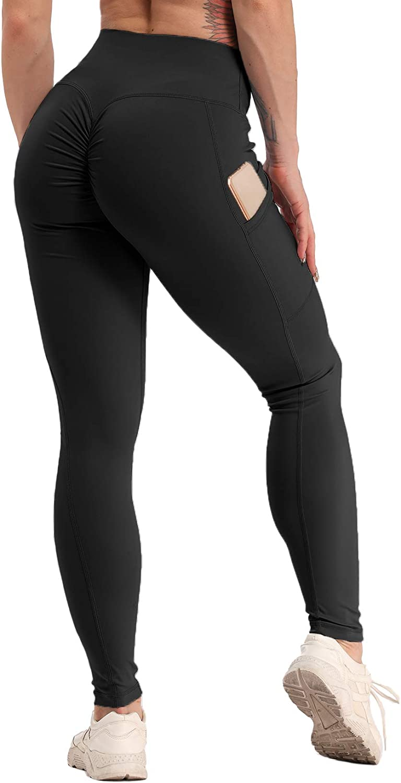 Women Fitness Tight Pants Scrunch Yoga Leggings Pocket High Waist Sport Exercise