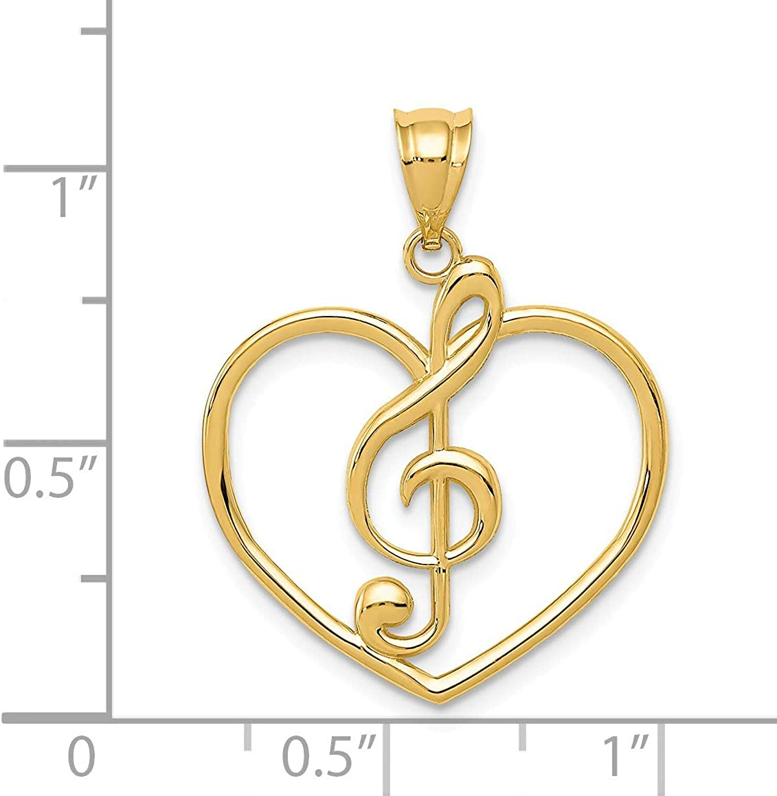 Black Bow Jewelry 14k Yellow Gold Treble Clef and Heart Pendant