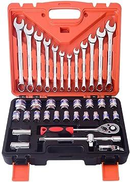 Juego de herramientas mecánicas, juego de dados de unidad métrica con estuche de almacenamiento, caja de herramientas de acero cromo vanadio para herramientas mecánicas(37 piezas): Amazon.es: Bricolaje y herramientas