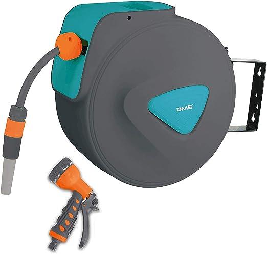 DMS Enrollador de Manguera de jardín, enrollador de Manguera de Agua automático con Manguera de riego de 20 Metros, Color Azul: Amazon.es: Jardín