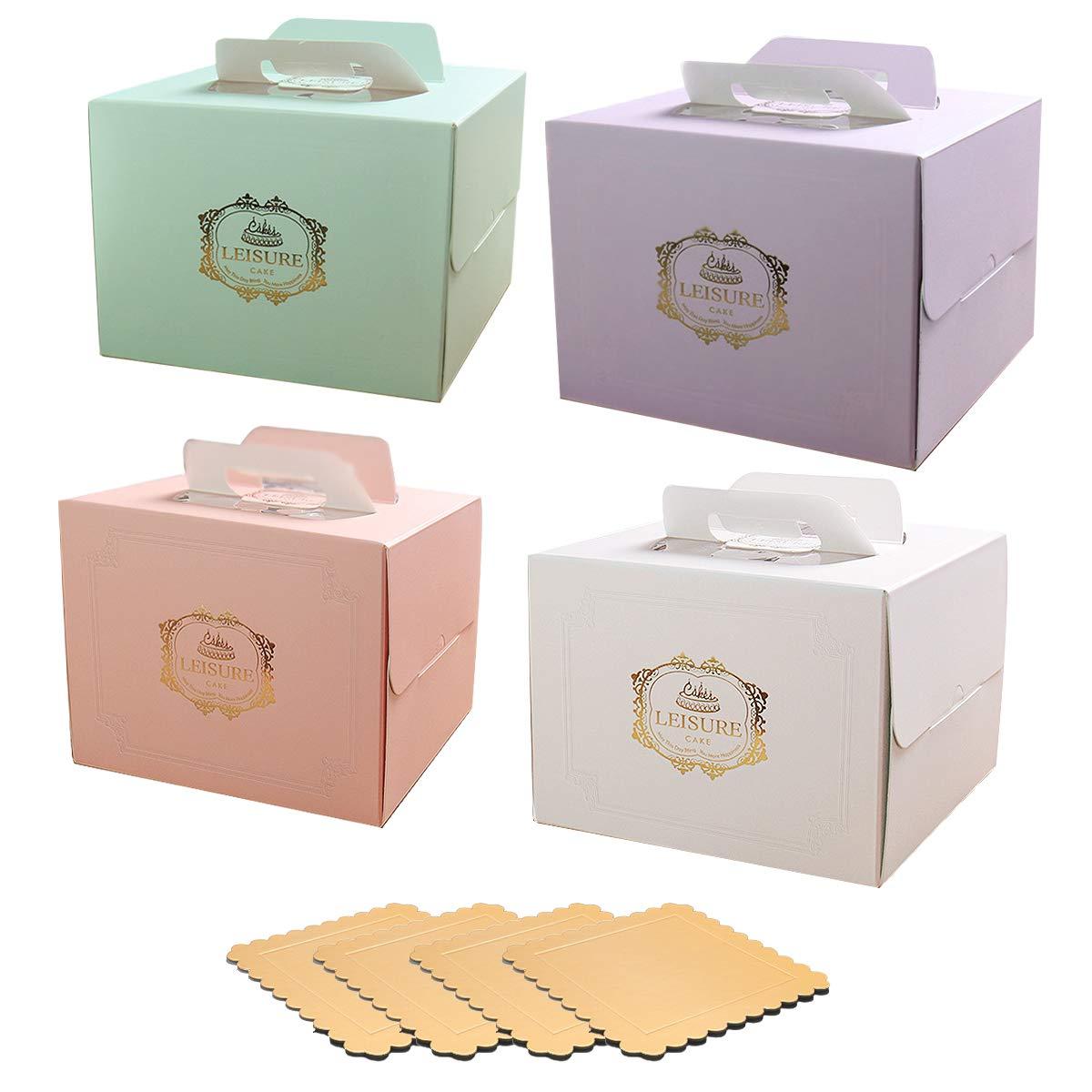 4X différents de boîte à gâteaux de 29,2cm de couleur avec 4x 27,9cm Squre Tapis de gâteau avec poignée