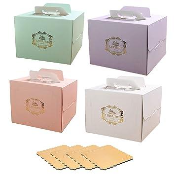 Juego de 4 cajas para tartas de colores diferentes de 30 cm con 4 alfombrillas cuadradas de 28 cm con asa: Amazon.es: Hogar