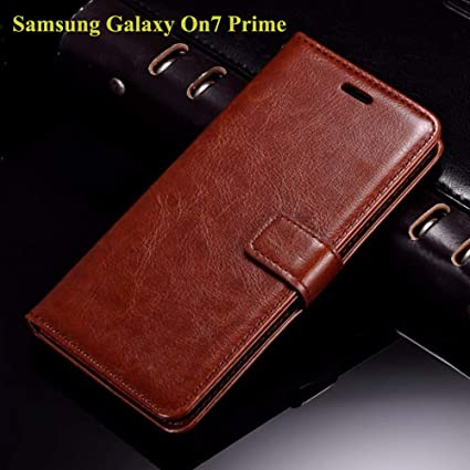 low priced 78680 ecfc5 Thinkzy SA45LE2 Flip Cover Case for Samsung Galaxy On7 Prime (Brown)