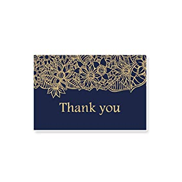 10pcs Thank You Card Navy Blue Gold Blank Note Cards With