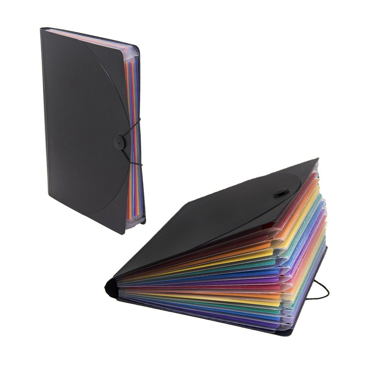 SODIAL 12 Pocket Expanding Files Folder/ A4 Expandable File Organizer/Portable Accordion File Folder/High Capacity Multicolour Stand/Plastic Business File Organizer