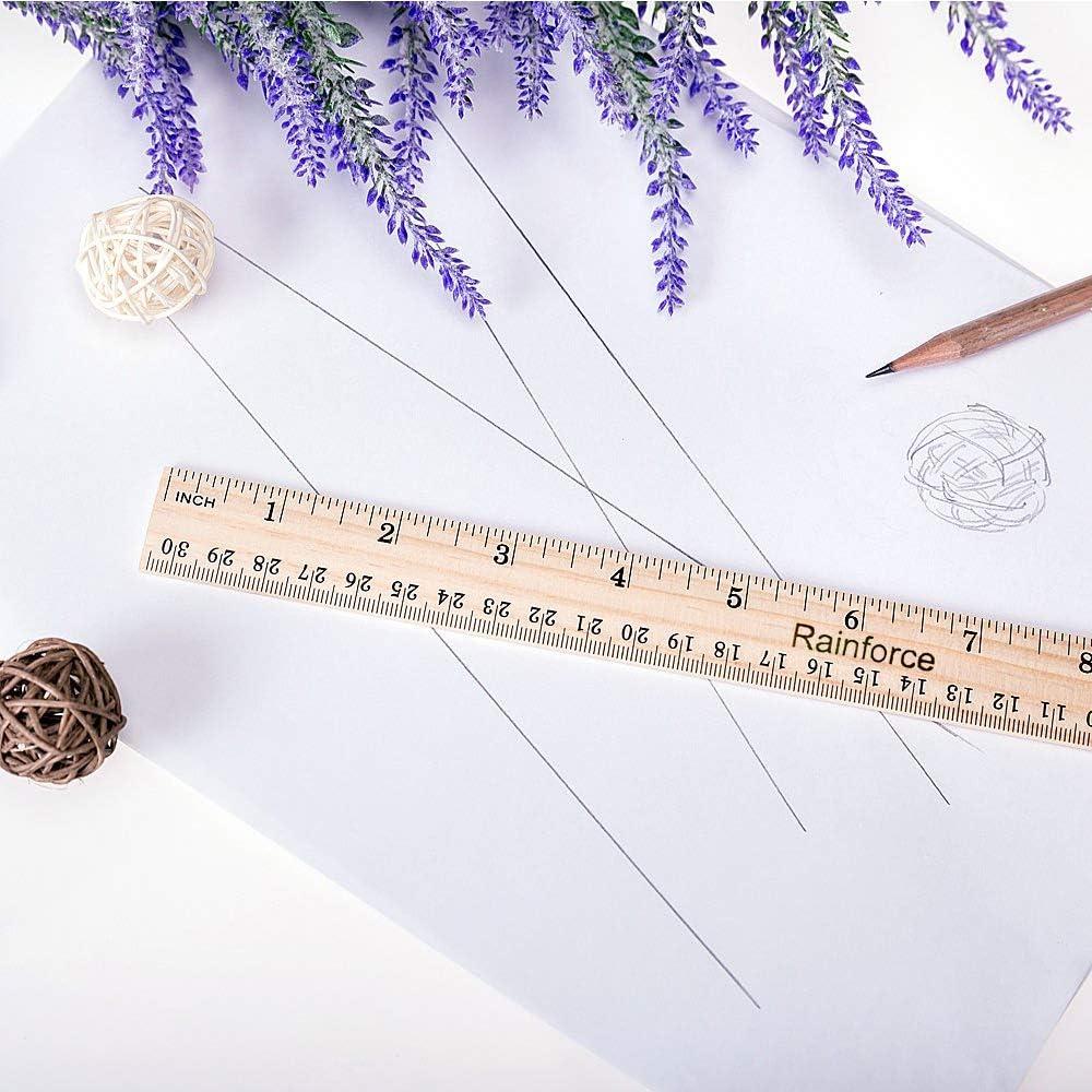 Wooden rulers 12 inch Bulk School Ruler for Student Wood Ruler 48 Pack