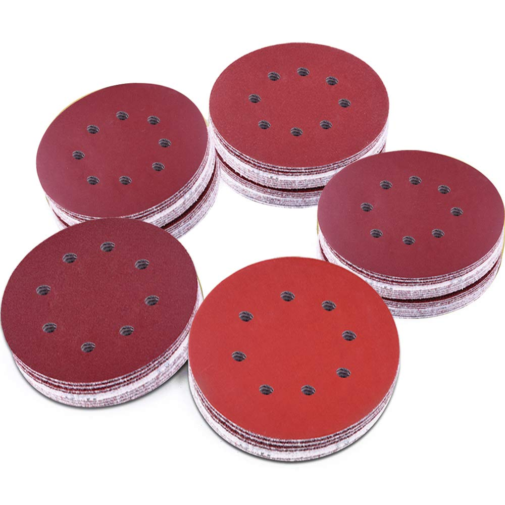 AUSTOR 100 Pieces 8 Holes Sanding Discs, 5 Inch Hook and Loop 1000/1200/ 1500/2000/ 3000 Grit Sandpaper Assortment for Random Orbital Sander 61-t2BBiS9fL