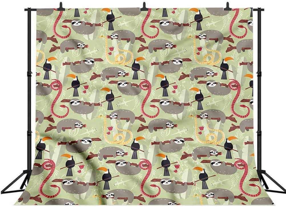 8x8FT Vinyl Photography Backdrop,Sloth,Inhabitants of The Rainforest Photoshoot Props Photo Background Studio Prop