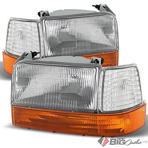 For 1992-1996 F-Series, Bronco Headlights + Corner Lights + Amber Bumper Lights Set Pair Left+Right 1993 1994 1995 - 96 Ford F350 Corner Light