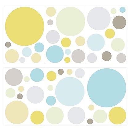 I-love-Wandtattoo Pegatina de Pared Set habitación Infantil círculos en Colores Pastel Modernos Unidades Puntos para Pegar Adhesivos de Pared ...
