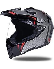 406d9e716213c Shorkproof Off Road Full Face Casco de Moto Cascos de Motocicleta para  Adultos con Visera A