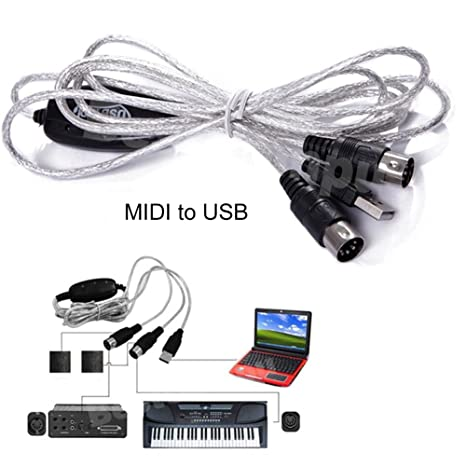 Cable MIDI a USB 1.8 m cable de edición de música convertidor midi línea de conexión