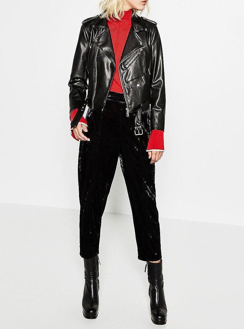 Doris Womens Faux Leather Jackets Zipper Motorcycle Biker Jacket Coat