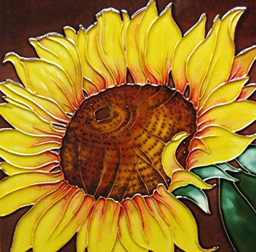 (Continental Art Center 8x8 Art Tile-Single Sunflower with Brown Center)