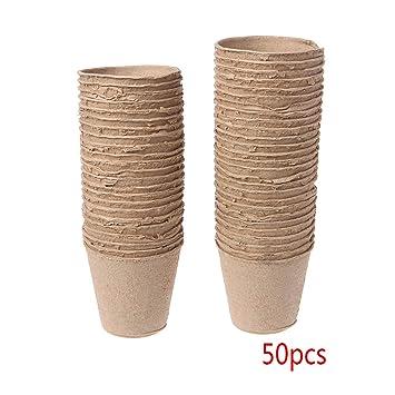 Guoyy 50 Unidades ollas Redondas Papel biodegradables Pulpa turba Plantas Guardería Cup Tray Jardín: Amazon.es: Jardín