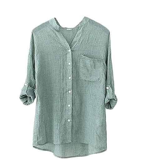 Mujer Blusas De Elegantes Moda Vintage Lino Camisa Manga Larga Stand Dulce Lindo Chic Color Sólido
