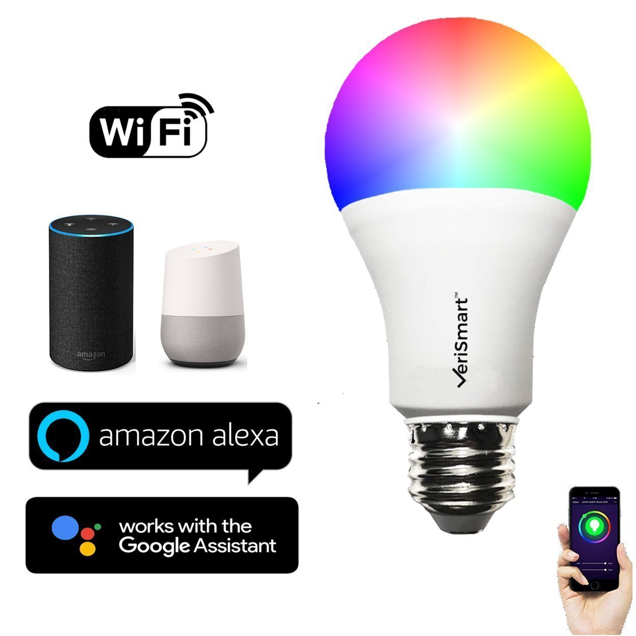 VeriSmart Wi-Fi LED Smart Light Bulb - Works with GOOGLE HOME and AMAZON ALEXA, Free APP, (7W) 60W Equivalent, 6000K, No HUB Required, CE & FCC Certified by VeriSmart (Image #1)