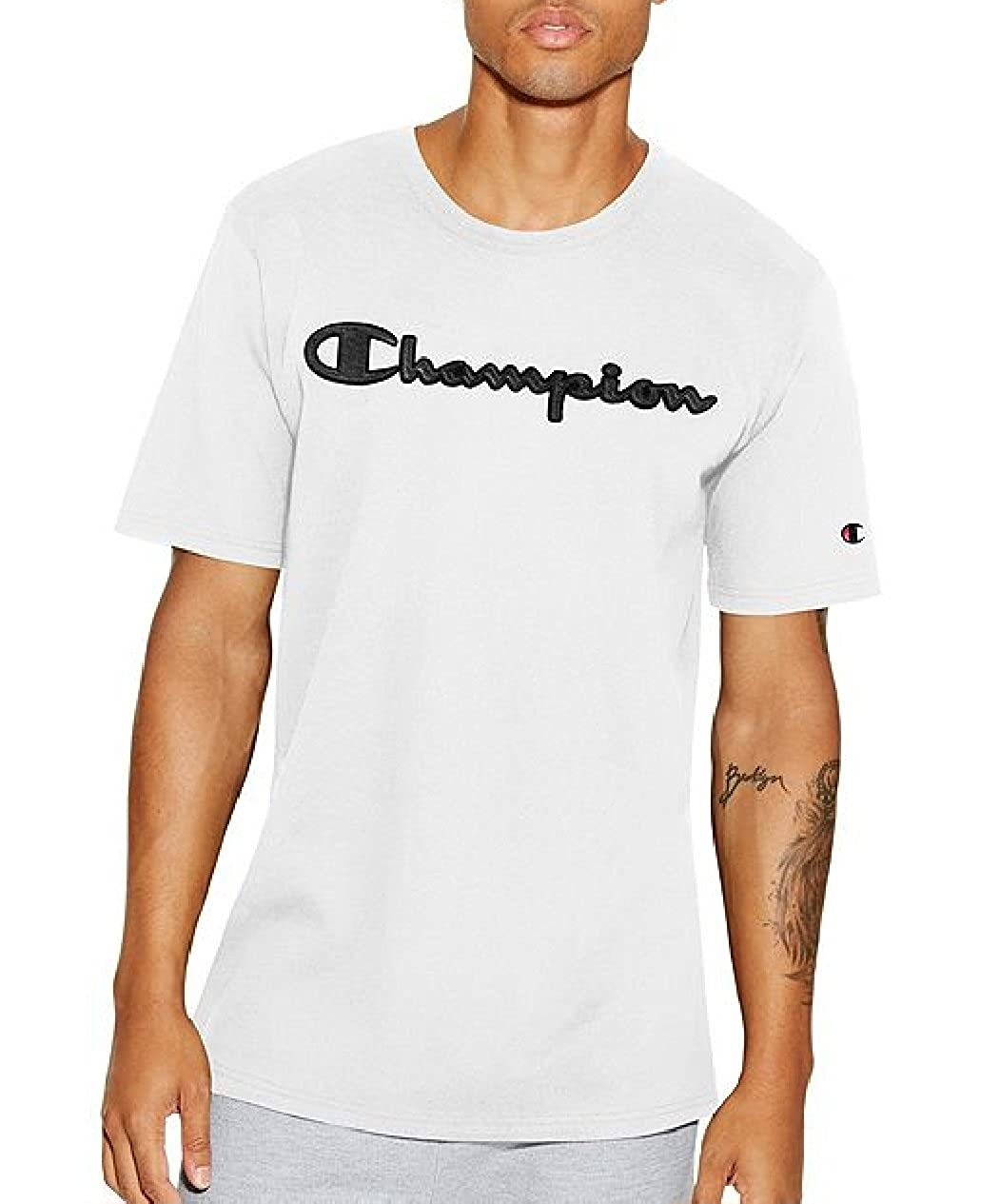 fe3ba817 Amazon.com: Champion Life Men's Heritage Faux Leather Graphic Logo T-Shirt  (X-Small, White): Clothing