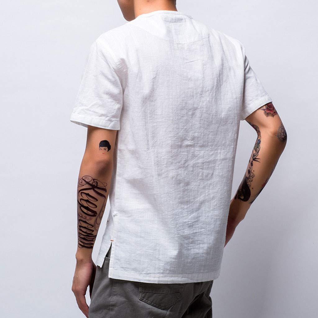 Hanomes Camiseta de los Hombres Recto de los Hombres de Color s/ólido Casual con Cuello en v de Lino Manga Corta Camiseta Diaria de Manga Corta con Botones para Hombre