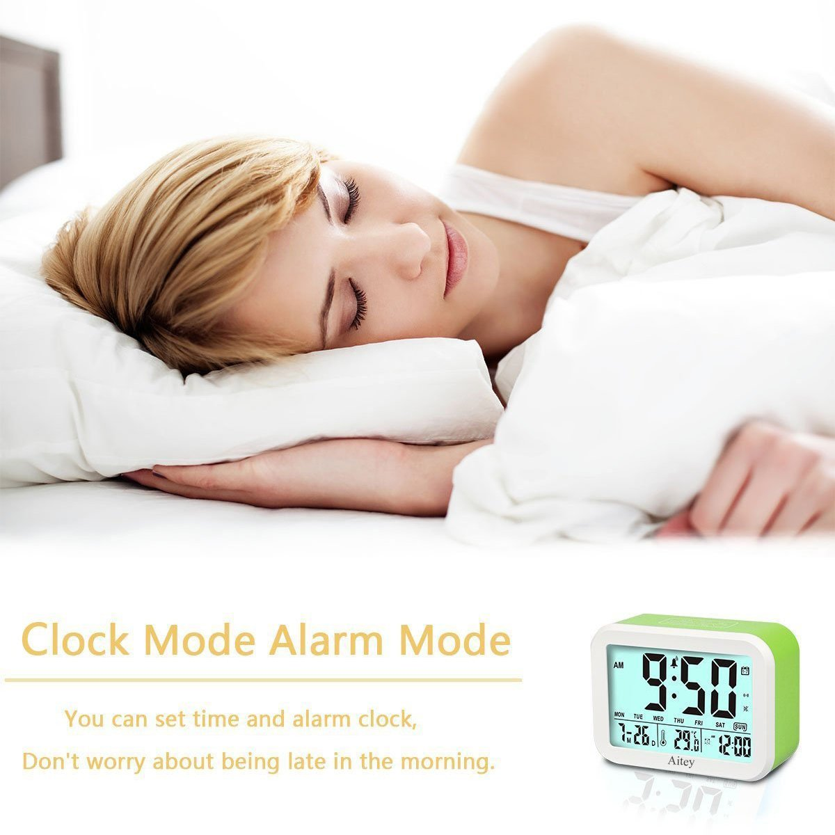 Digital Alarm Clock, Aitey Talking Clock with 3 alarms, Optional Weekday Alarm, Intelligent Noctilucent & Snooze Function, Month Date & Temperature Display for Adults, Kids & Teens (Green) by Aitey (Image #7)
