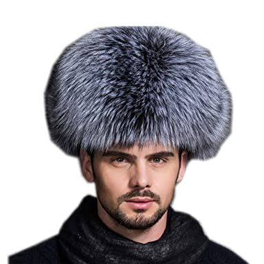 d6c0783b44b Gegefur Mens Winter Hat Real Fox Fur Genuine Leather Russian Ushanka Hats  (Silver Fox)