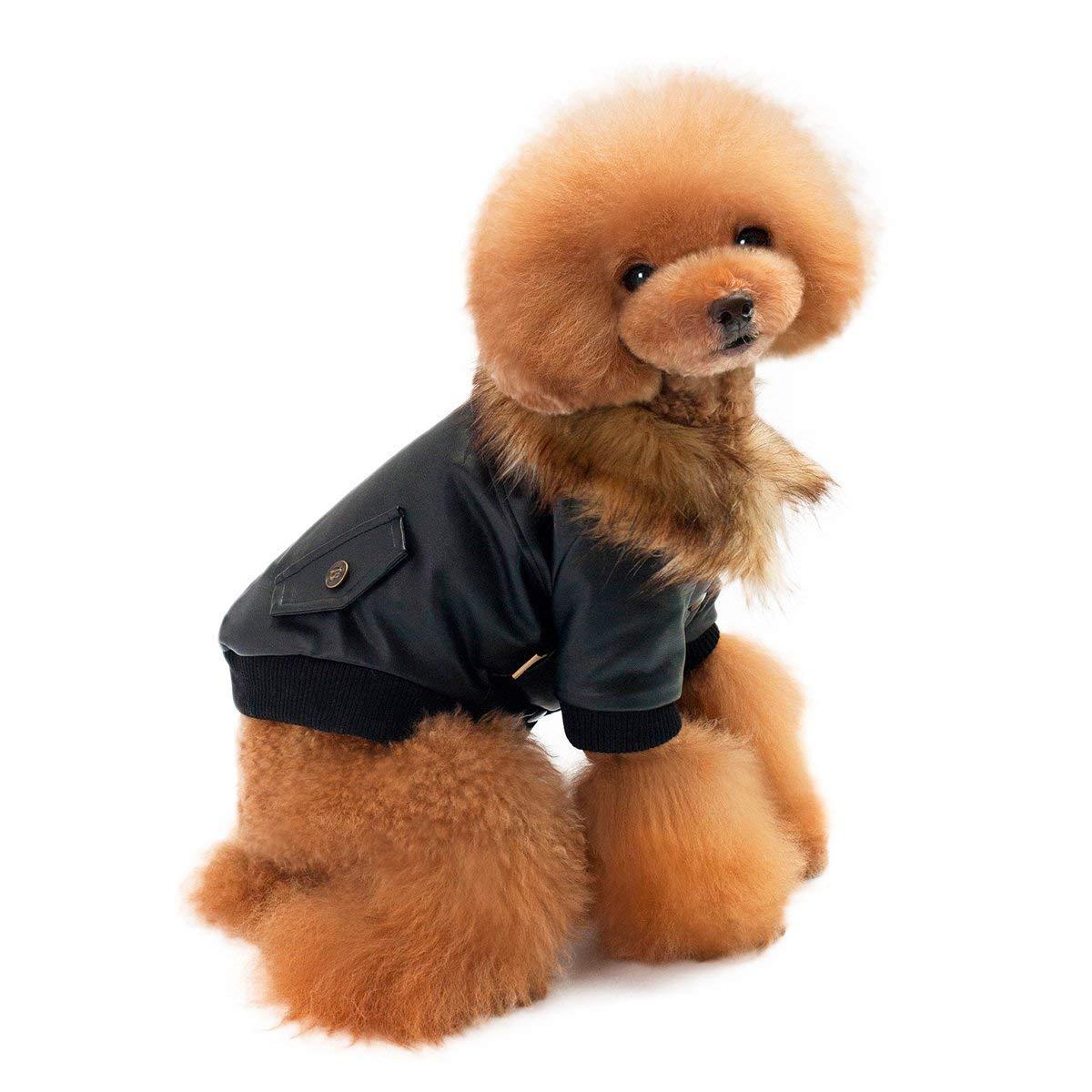 Abzon Dog Leather Jacket Weatherproof Microfiber Leather Dog Winter Coat for Cold Weather Warm Dog Jacket.(M)