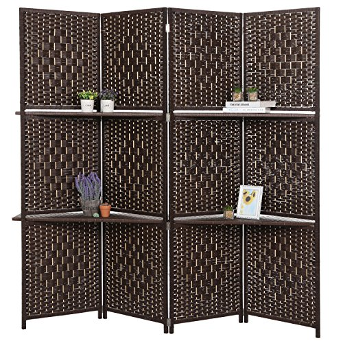 MyGift Wooden 4 Panel Paper Rope Woven Screen Divider/Partition Wall w/ 6 Display Shelves, Dark Brown