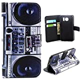 S6 Case,Galaxy S6 Case,Samsung S6 Case,MANBO **New** Fashion Leather Folio Magnet Wallet Stand Case Cover For Samsung Galaxy S6 - Retro Radio