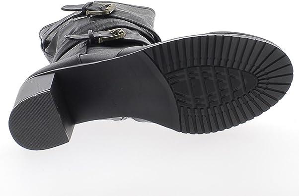 Stivali tacco alto donna taglia grande doppiato nero cuoio