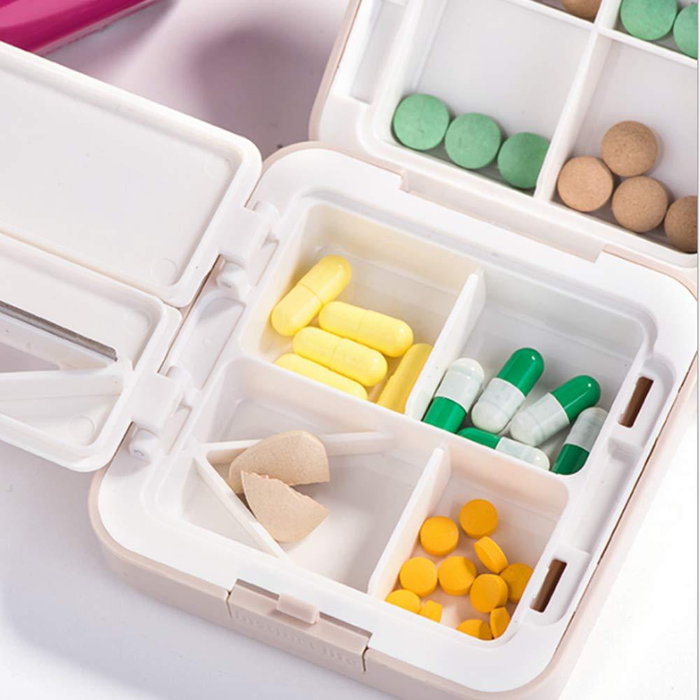 EFGS Organizer Settimanale per Pillole Portatile A Prova di umidit/à 7 Giorni Dispenser Tagliapillole,Blue
