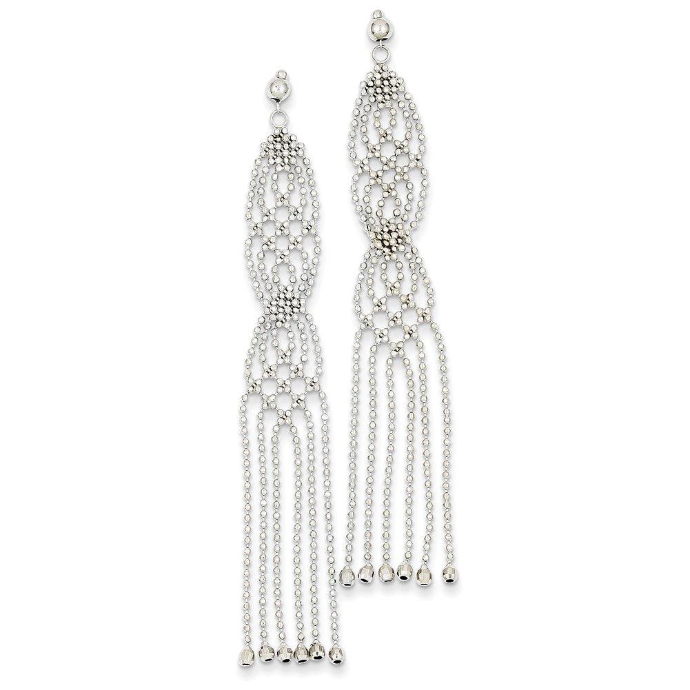 Lex /& Lu 14k White Gold Bead Chain Earrings